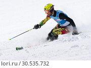Купить «Горнолыжник Брайтфус Каммерландер Симон (Breitfuss Kammerlander Simon) (Боливия). Соревнования Международной федерации лыжного спорта, слалом», фото № 30535732, снято 29 марта 2019 г. (c) А. А. Пирагис / Фотобанк Лори