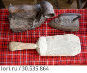 Купить «Старинные приспособления для глажки белья», фото № 30535864, снято 22 августа 2018 г. (c) Вячеслав Палес / Фотобанк Лори