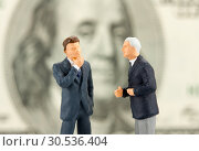Купить «Figurines of two discussing businessmen», фото № 30536404, снято 16 февраля 2011 г. (c) Tryapitsyn Sergiy / Фотобанк Лори