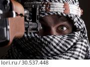 Купить «Scared aimed middle eastern man», фото № 30537448, снято 1 июля 2011 г. (c) Tryapitsyn Sergiy / Фотобанк Лори