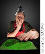 Купить «Scared man watching old radar», фото № 30537840, снято 17 ноября 2011 г. (c) Tryapitsyn Sergiy / Фотобанк Лори