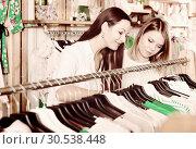 Купить «Smiling female friends choosing sweater in the modern shop», фото № 30538448, снято 15 марта 2018 г. (c) Яков Филимонов / Фотобанк Лори