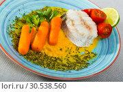 Купить «Hake with vegetable pate», фото № 30538560, снято 17 июля 2019 г. (c) Яков Филимонов / Фотобанк Лори