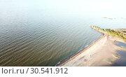 Купить «View from the drone on the sandy beach and the coast of the Gulf of Finland, on the horizon the districts of St. Petersburg», видеоролик № 30541912, снято 9 апреля 2009 г. (c) Куликов Константин / Фотобанк Лори