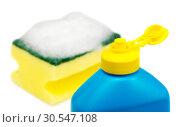 Купить «dishwashing liquid and sponge», фото № 30547108, снято 17 июня 2019 г. (c) Tryapitsyn Sergiy / Фотобанк Лори