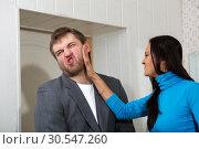 Купить «Female slap her partner», фото № 30547260, снято 23 ноября 2013 г. (c) Tryapitsyn Sergiy / Фотобанк Лори