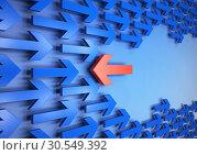 Купить «Arrows in different directions», фото № 30549392, снято 28 февраля 2020 г. (c) Tryapitsyn Sergiy / Фотобанк Лори