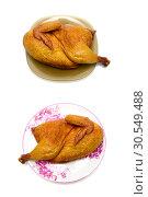 Купить «Smoked chicken isolated on white closeup background», фото № 30549488, снято 19 мая 2014 г. (c) Ласточкин Евгений / Фотобанк Лори