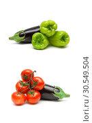 Купить «Eggplant and other vegetables on a white background», фото № 30549504, снято 19 мая 2014 г. (c) Ласточкин Евгений / Фотобанк Лори