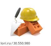 Купить «Stack of bricks and helmet», фото № 30550980, снято 12 июля 2020 г. (c) Tryapitsyn Sergiy / Фотобанк Лори