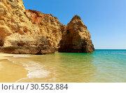 Купить «Calm sea with rocky cliffs», фото № 30552884, снято 18 июля 2015 г. (c) Tryapitsyn Sergiy / Фотобанк Лори