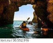 Купить «People on boats in the sea», фото № 30552916, снято 18 июля 2015 г. (c) Tryapitsyn Sergiy / Фотобанк Лори