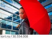 Купить «Businesswoman with umbrella», фото № 30554008, снято 25 декабря 2014 г. (c) Tryapitsyn Sergiy / Фотобанк Лори