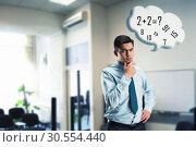 Businessman doing mental arithmetic. Стоковое фото, фотограф Tryapitsyn Sergiy / Фотобанк Лори