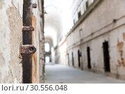 Grunge brick wall with metal doorway. Стоковое фото, фотограф Tryapitsyn Sergiy / Фотобанк Лори