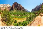 Купить «Amazing view of canyon at Zion National Park», фото № 30556792, снято 23 июня 2016 г. (c) Tryapitsyn Sergiy / Фотобанк Лори