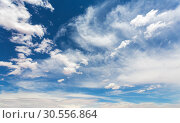 Купить «Cloudscape on deep blue sky.», фото № 30556864, снято 25 июня 2016 г. (c) Tryapitsyn Sergiy / Фотобанк Лори