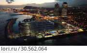 Купить «View from drones of coast in Barcelona and center with building», видеоролик № 30562064, снято 25 декабря 2018 г. (c) Яков Филимонов / Фотобанк Лори