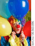 Купить «Clown with a bunch of colorful air balloons.», фото № 30563096, снято 30 октября 2016 г. (c) Tryapitsyn Sergiy / Фотобанк Лори