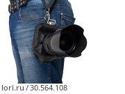 Male legs in jeans and belt holding gigital camera. Стоковое фото, фотограф Tryapitsyn Sergiy / Фотобанк Лори