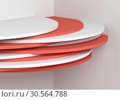 Купить «Cylindrical installation in empty white corner», иллюстрация № 30564788 (c) EugeneSergeev / Фотобанк Лори