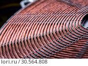Induction heater copper coil closeup. Стоковое фото, фотограф Tryapitsyn Sergiy / Фотобанк Лори