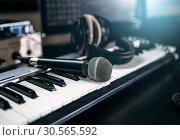 Professional music studio equipment, closeup. Стоковое фото, фотограф Tryapitsyn Sergiy / Фотобанк Лори