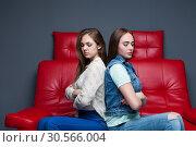 Купить «Women quarrel,two quarreling girlfriends», фото № 30566004, снято 23 марта 2017 г. (c) Tryapitsyn Sergiy / Фотобанк Лори