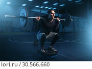 Strength athlete on training, workout with barbell. Стоковое фото, фотограф Tryapitsyn Sergiy / Фотобанк Лори