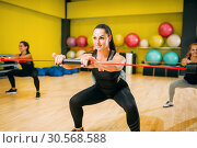 Women group on fitness training, aerobic. Стоковое фото, фотограф Tryapitsyn Sergiy / Фотобанк Лори