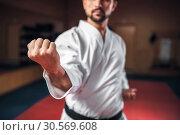 Купить «Martial arts, fighter in white kimono, black belt», фото № 30569608, снято 13 декабря 2017 г. (c) Tryapitsyn Sergiy / Фотобанк Лори