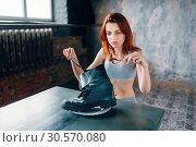 Купить «Fat burning concept, weight loss, anorexia», фото № 30570080, снято 10 января 2018 г. (c) Tryapitsyn Sergiy / Фотобанк Лори