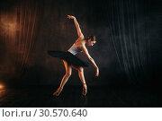 Купить «Elegance ballerina in action on theatrical stage», фото № 30570640, снято 12 февраля 2018 г. (c) Tryapitsyn Sergiy / Фотобанк Лори