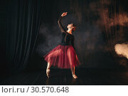 Купить «Ballet dancer in red dress dancing on the stage», фото № 30570648, снято 12 февраля 2018 г. (c) Tryapitsyn Sergiy / Фотобанк Лори