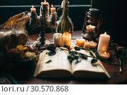 Купить «Witchcraft, dark magic, candles with ritual book», фото № 30570868, снято 27 февраля 2018 г. (c) Tryapitsyn Sergiy / Фотобанк Лори