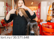Купить «Female hairstylist runs the comb, hairdressing», фото № 30571648, снято 29 апреля 2018 г. (c) Tryapitsyn Sergiy / Фотобанк Лори