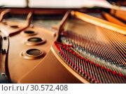 Купить «Inside grand piano, strings closeup, nobody», фото № 30572408, снято 10 июня 2018 г. (c) Tryapitsyn Sergiy / Фотобанк Лори