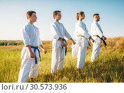 Купить «Karate group with master in white kimono», фото № 30573936, снято 26 августа 2018 г. (c) Tryapitsyn Sergiy / Фотобанк Лори