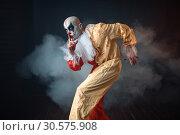 Купить «Mad bloody clown sneaks and shows the quiet sign», фото № 30575908, снято 7 декабря 2018 г. (c) Tryapitsyn Sergiy / Фотобанк Лори