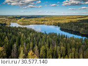 Купить «View from the lookout tower of Aulanko, Hämeenlinna, Finland», фото № 30577140, снято 4 апреля 2020 г. (c) Сергей Цепек / Фотобанк Лори