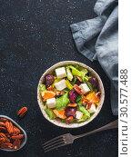 Купить «Beetroot, Feta Cheese and Orange Salad.», фото № 30577488, снято 21 января 2018 г. (c) Ольга Сергеева / Фотобанк Лори