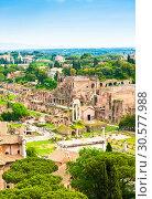 Купить «Красивый вид на Римский Форум с высоты птичьего полета в весенний солнечный день. Рим. Италия», фото № 30577988, снято 28 апреля 2018 г. (c) E. O. / Фотобанк Лори