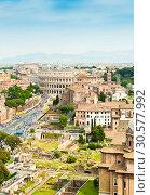 Купить «Вид на Колизей. Красивый городской пейзаж с высоты птичьего полета в весенний день. Рим. Италия», фото № 30577992, снято 28 апреля 2018 г. (c) E. O. / Фотобанк Лори