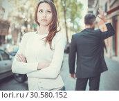Купить «Offended girl after quarrel with boyfriend», фото № 30580152, снято 11 апреля 2017 г. (c) Яков Филимонов / Фотобанк Лори