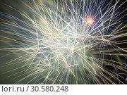 Купить «Colorful fireworks on night sky», фото № 30580248, снято 22 июля 2017 г. (c) Яков Филимонов / Фотобанк Лори