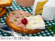 Купить «Toast with pate and blue cheese», фото № 30580332, снято 24 апреля 2019 г. (c) Яков Филимонов / Фотобанк Лори