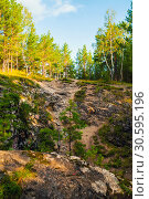 Купить «Summer forest landscape - marble high steep near the Sugomak cave in Southern Urals, Russia», фото № 30595196, снято 23 августа 2013 г. (c) Зезелина Марина / Фотобанк Лори