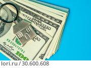 Купить «Keychain and american dollars bills», фото № 30600608, снято 18 апреля 2019 г. (c) Pavel Biryukov / Фотобанк Лори