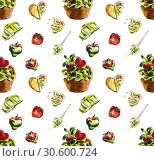 Seamless pattern. Matcha. Watercolor hand drawn illustration. Стоковая иллюстрация, иллюстратор Мария Кутузова / Фотобанк Лори