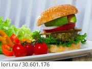Купить «Vegetarian burger», фото № 30601176, снято 25 апреля 2019 г. (c) Яков Филимонов / Фотобанк Лори
